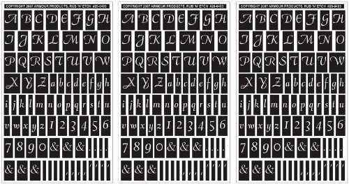 Rub 'N' Etch Designer Stencils 5x8 3/Pkg-Script Letters & Numbers Armour Products