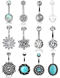12 Pcs 14G Stainless Steel Belly Button Rings for Women Girls Navel Barbell Body Jewelry Piercing