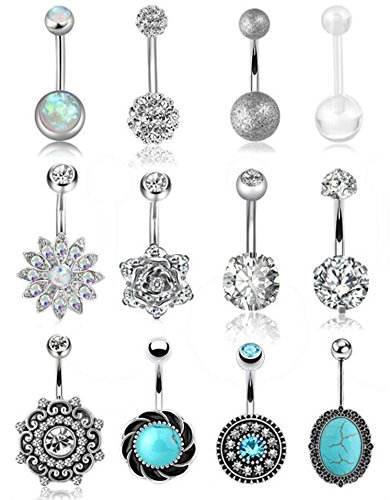 FIBO STEEL 12 Pcs 14G Stainless Steel Belly Button Rings for Women Girls Navel Barbell Body Jewelry Piercing ()