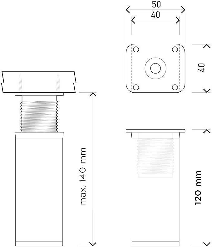 8 piezas Patas para muebles +20mm Altura: 120mm Perfil cuadrado: 40 x 40 mm Sossai/® MFV1-WH | Tornillos incluidos Dise/ño: Blanco altura regulable