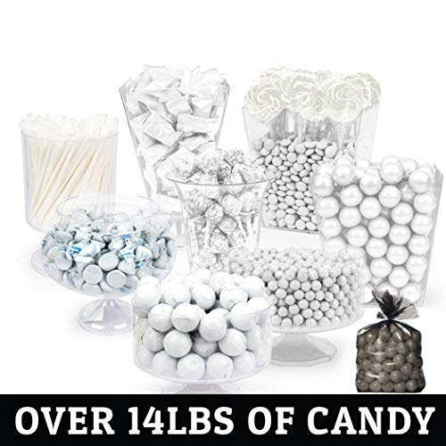 White Candy Buffet (Approx 14lbs) - Includes Hershey's Kisses, Buttermints, Lollipops, Gumballs, Sixlets and More - Free Cold Packaging