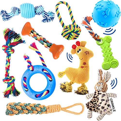 10 pack set of dog toys for small dogs & puppies. Great for teething, chewing, and playtime. Assorted toys: rope, ball, plush, squeaker, stuff less, and IQ interactive treat ball. Great gift item ()