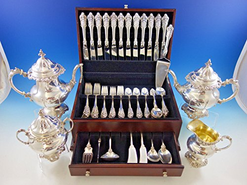 Grande Baroque by Wallace Sterling Silver Flatware Set 12 Dinner Size + Tea Set (Sterling Grand Baroque Flatware)