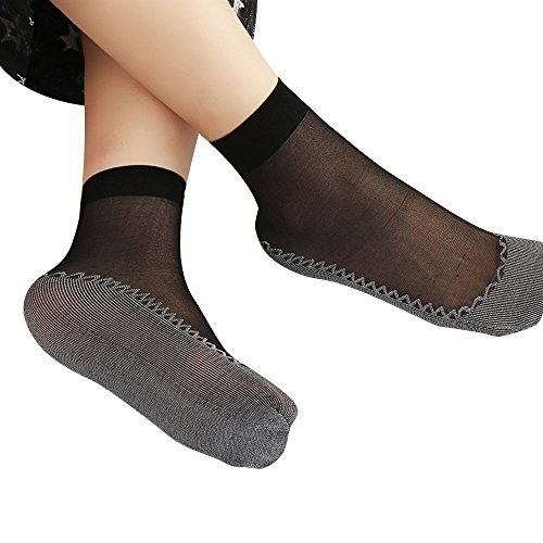 SuNiSER Silky Short Stock,Transparent Stockings Stretchy Crew Sox for Women -