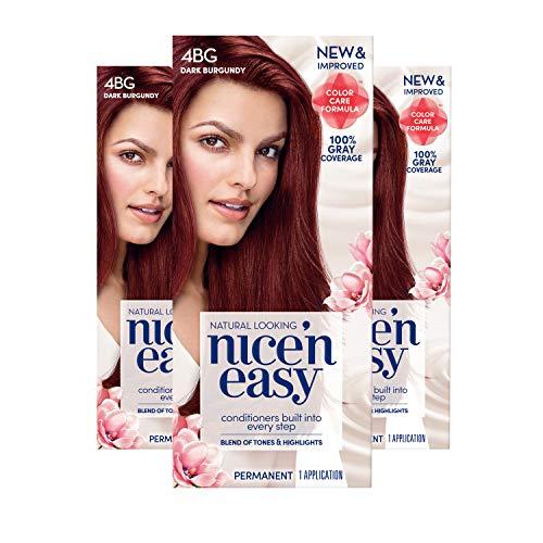 Clairol Nice 'n Easy Permanent Hair Color, 4BG Natural Dark Burgundy, 3 Count, Reds (Packaging May Vary) (Best At Home Red Hair Dye For Dark Hair)