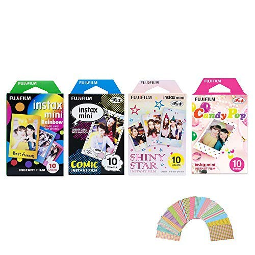 Fujifilm Instax Mini Film 4 Pack Bundle! Rainbow, Comic, Shiny Star, Candy Pop 10 X 4 = 40 Sheets Assort Set  Photo Frame Stickers 20 pcs