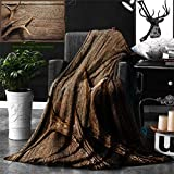 Ralahome Unique Custom Double Sides Print Flannel Blankets Antlers Decor Deer Antlers On Wood Table Rustic Texture Surface Hunting Season Super Soft Blanketry Bed Couch, Throw Blanket 70 x 50 Inches