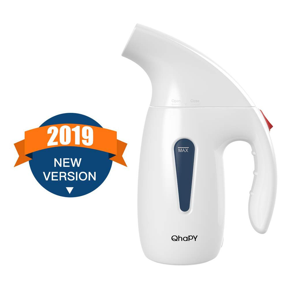 QhaPY Garment Steamer for Clothes, Compact Powerful Portable Handheld Steamer for All Fabrics,Wrinkle Remover/Clean/Sterilize and Defrost,Fast Heat Up,Auto-Off with High Capacity for Home and Travel