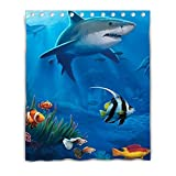 LiFei Business Custom Design Shark Seafish Gaming mouse Custom shower curtain 60''(W) x 72''(H) (12 Holes)