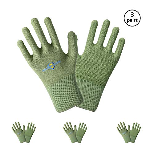 (Golden Scute 3 Pairs Bamboo Working Gloves with PVC Dots,Non-slip Durable Grip Knit Wrist Breathable, Keep Hands Cool, Sweat Proof, Comfortable Safety Gloves for Light Work(Extra Large/Size 10))