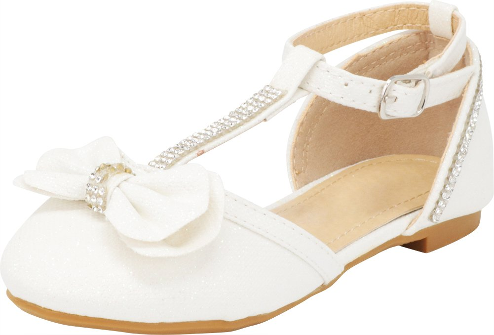 Cambridge Select Girls' Closed Toe T-Strap Buckle Crystal Rhinestone Bow Ballet Flat (Toddler/Little Kid/Big Kid),3 M US Little Kid,White