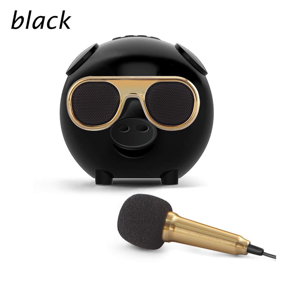 Hq Wireless Bluetooth Speaker Pig Mini Cute Smart Karaoke Audio Device Microphone Loudspeaker Box Subwoofer Dustproof Black White,Black