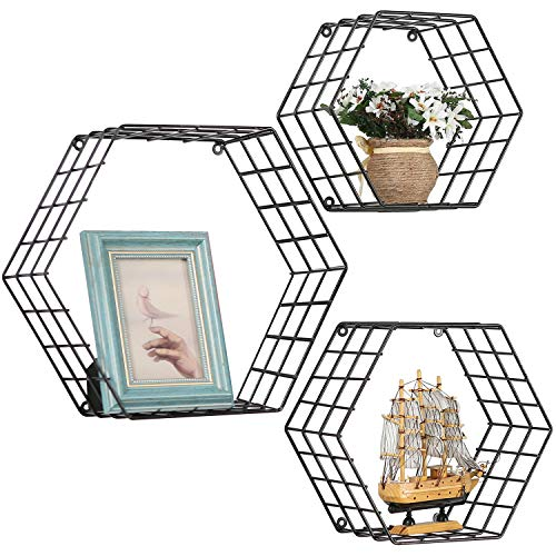 - MyGift Metal Wire Hexagon Design Wall-Mounted Shelves, Set of 3, Black
