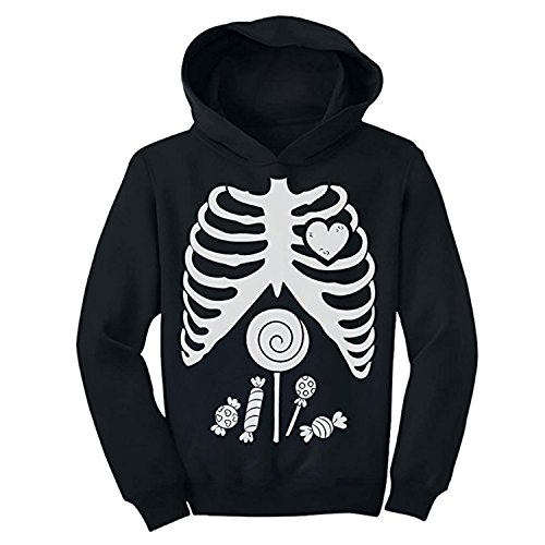 ZMvise Skeleton Candy Rib-cage X-Ray Halloween Funny Pullover Drawstring Unisex Kids Girl Boy Men Women Hoodie (Odd Halloween Candy)