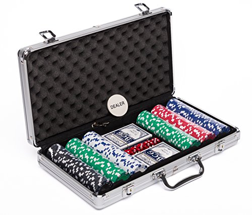 Poker Chip and Card Game Set, Best for Texas HoldEm (300 11.5 (Poker Button Set)