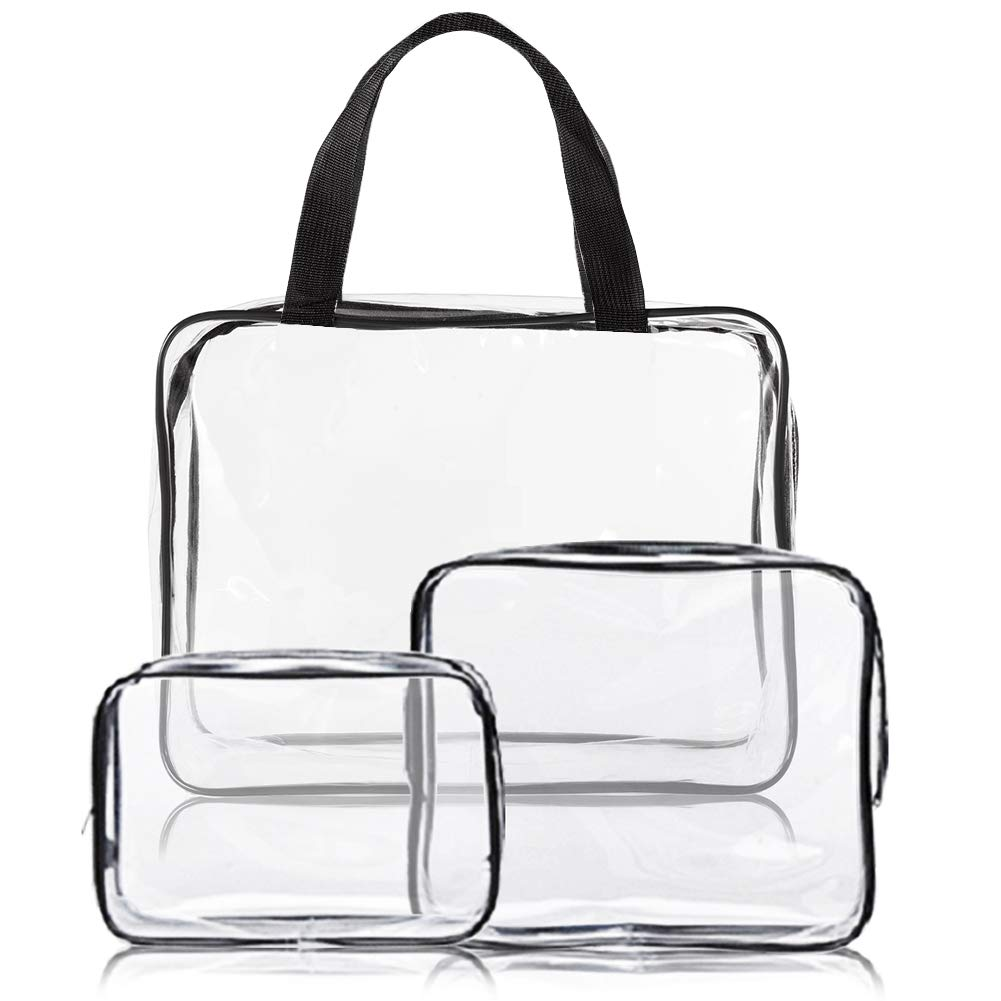 3pcs Clear Makeup Bag Travel Toiletry Bag Set Waterproof Packing Organizer Storage with Zipper PVC Makeup Pouch Handle Strap