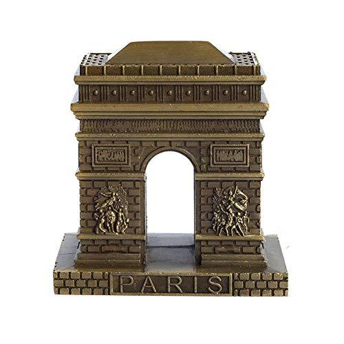 PROW Vintage Bronze Paris Arc de Triomphe Statue, Figurine Home Desktop Décor Souvenir Metal Artificial World Famous Buildings Sculpture (3 Inches) (Arc Statue)