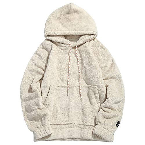 ZEZCLO Mens Solid Winter Fluffy Hoodie Oversized Hooded Pullover Sweatshirt Outwear with Kangaroo Pocket Warm White XS