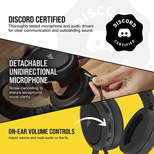 Corsair HS50 Pro - Stereo Gaming Headset - Discord Certified Headphones - Works with PC, Mac, Xbox Series X, Xbox Series S, Xbox One, PS5, PS4, Nintendo Switch, iOS and Android – Carbon