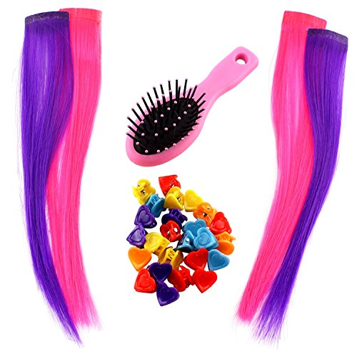 30-Piece Doll Hair Extensions & Accessories Set (4 Pink / Purple Hair Extensions, 2 Dozen Hair Clips & 1 Doll Hair Brush); Compatible with 18-Inch Dolls & 15-Inch Baby Dolls