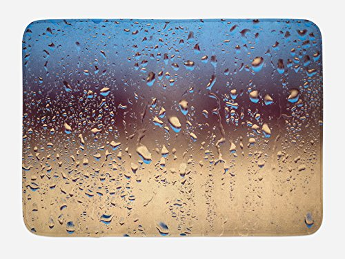 """Ambesonne Rain Bath Mat, Close up Rain Drops on Glass Natural Sprays Sphere Contrasting Colors Picture, Plush Bathroom Decor Mat with Non Slip Backing, 29.5"""" X 17.5"""", Blue Tan"""
