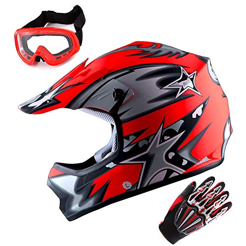 WOW Updated Youth Motocross Helmet Kids Motorcycle Bike Helmet Matt Star Red + Goggles + Skeleton Red Glove Bundle
