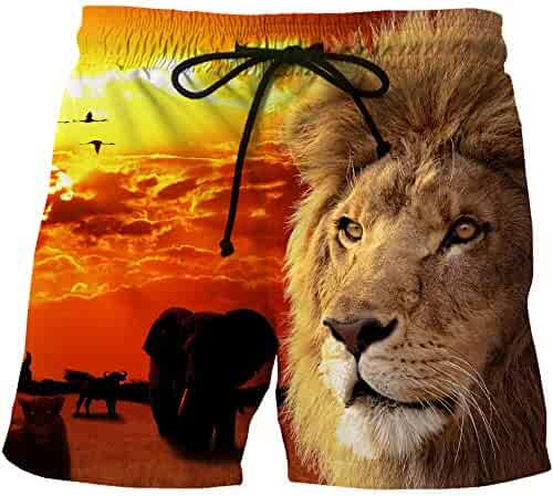 xingSL Mens Quick-Drying Beach Shorts Anime Print Side Pocket Casual Shorts