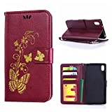 MOONCASE Xperia Z2 Case, Bronzing Butterfly Pu Leather Wallet Pouch Etui Flip Kickstand Case Cover for Sony Xperia Z2 Bookstyle Folio [Shock Absorbent] TPU Case with Photo Frame Burgundy