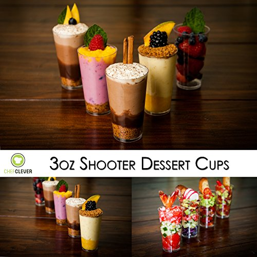DLux Mini Shooter Dessert Cups, Appetizer Bowls & Spoons & Recipe e-Book [Clear Plastic, 3 oz, Round, 50 Count] Small Catering Supplies, Disposable Tasting Glasses, Parfait Tumblers, Shooters by DLux (Image #7)