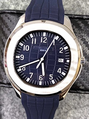 Luxury Brand Stainless Steel Silver Color Blue Dark dial Blue Rubber Automatic (self-Wind) Aqua Watch Watches