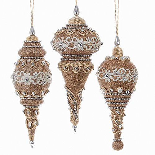 Christmas Tablescape Decor - Glitter rose gold finial Christmas ornaments embellished with lace, faux pearls, faux rhinestones, and beads - Set of 3 assorted