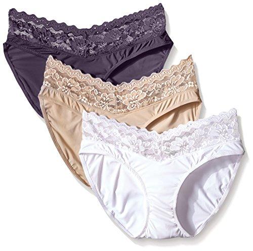 Ahh By Rhonda Shear Women's Sweet Cupcake Butterknit Lace Trim Panty, White/Nude/Smoke, Medium (Pack of 3)