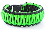 King Cobra Paracord Survival Bracelet(550 lb tested cord)-6 Wrist Sizes-12 Plus Colors-Reversable (Neon Green and Black, 8.5