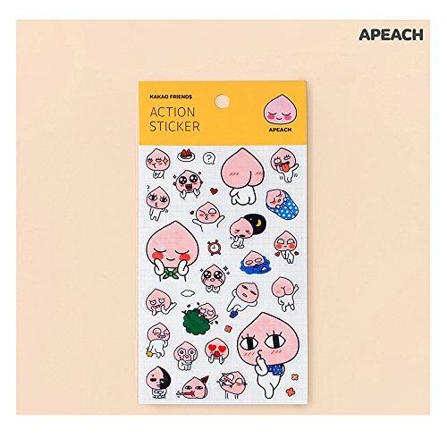 Kakao Talk Kakao Friends Emoji Action Stickers: Ryan, Apeach, Neo & Frodo and Muzi (Apeach)