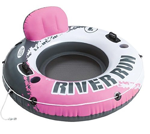 Intex Pink River Run I Sport Lounge - Classic Pool Lounger Perfect for Pool, River, & Lake - Heavy Duty Inflatable Water Float Tube With Back Rest and 2 Cup Holder