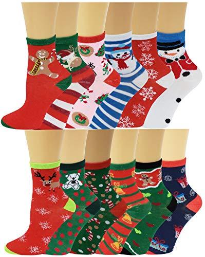 12 Pairs Pack Kids Girls Colorful Creative Fun Novelty Design Crew Socks (4-6, Christmas)