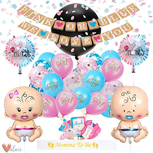 [55 Piece] Gender Reveal Party Supplies Kit For Baby Boy Or Girl · Gender Reveal Decorations Include Jumbo Confetti Balloon, pink/blue and champagne gold confetti, assorted pink and blue balloons -