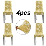 Homluxe Printed Spandex Stretch Dining Room Chair Slipcovers (4, Gold Tree)