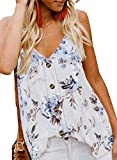 Fronage Womens Tank Tops Print Button Down V Neck Summer Loose Fit Cami Casual Sleeveless Shirts Blouse ((US12-14) Large, A-F-White)