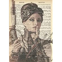 Steampunk Woman Vintage Dictionary Artwork Notebook: 7 x 10 inch Ruled Notebook/Journal