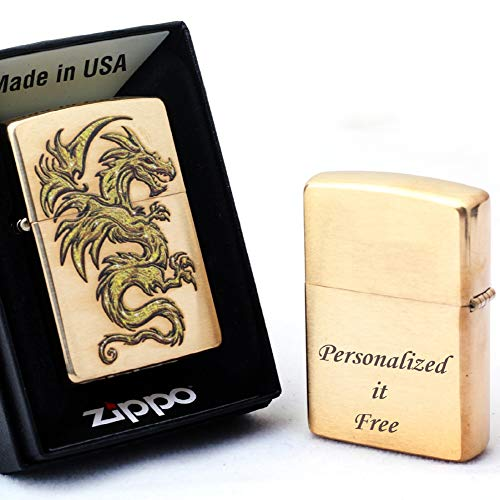 Free Engraving - Personalized Groomsman Zippo Lighter Windproof Perfect for Boyfriend, Anniversary - Three Lines, Each 20 Characters, Free Customization (Dragon Design)