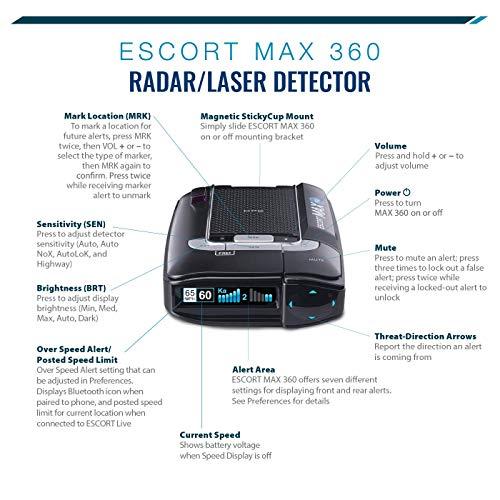 ESCORT MAX360 - Laser Radar Detector, GPS for Fewer False Alerts, Lightning Fast Response, Directional Alerts, Dual Antenna Front and Rear, Bluetooth, Voice Alerts, OLED Display, Escort Live! by Escort (Image #3)