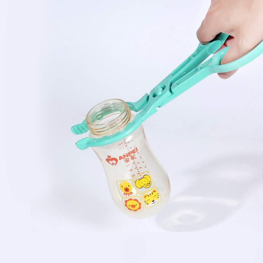 Infant Feeding Bottle Tongs Scissor Design Cleaning Brush Set Multi Functional Non Slip Nursing Hot Bottle Nipple Tong Sky Blue 1Set