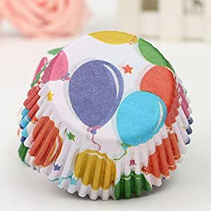100Pcs Balloon Pattern Cupcake Paper Muffin Cup High Temperature Baking Cup