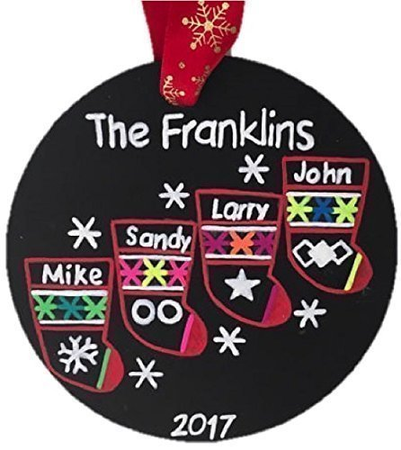4 Stockings Christmas Ornament / Family of 4 / Personalized Christmas Ornament / Custom Family Ornament / Chalkboard Ornament / Free Burlap Bag Family Stocking Ornaments