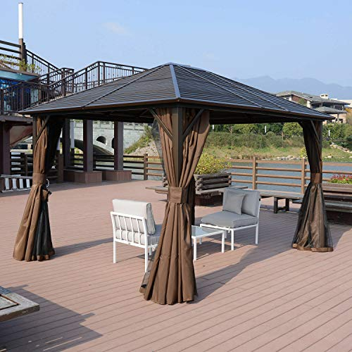 - goodyusstore Style and Functionality, Sturdy Steel Structure, 10 X 12' Deluxe Gazebo Patio Canopy Hard Top Outdoor Event W/Double Netting