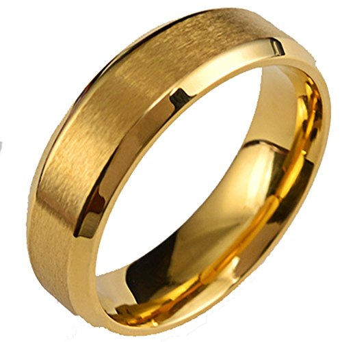 Mens 6mm Stainless Steel Brushed Finish 18K Gold Wedding Band Engagement Ring Beveled - Ring Brushed Steel Stainless