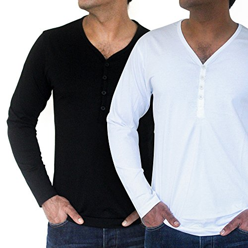 Men's Economy Pack of Two Deep Neck Long Sleeve T-Shirts By QZS Clothing