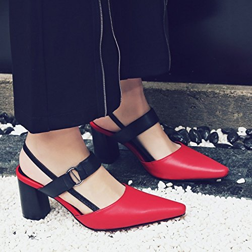 Jqdyl High Heels Weibliche Sandalen Sommer Spitze High Heel Baotou  37|Red