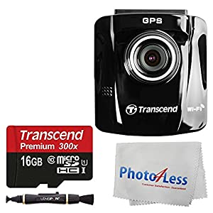 Transcend 16GB DrivePro 220 Car Video Recorder With Suction Mount + SanDisk Ultra 32GB microSDHC UHS-I Card with Adapter + Lens Cleaning Pen + Photo4Less Cleaning Cloth + Ultimate Accessory Bundle